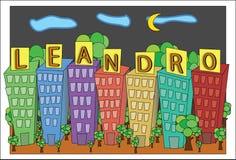 莱安德罗` s城市在夜之前 库存照片