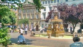 莱斯特城镇厅正方形喷泉 免版税库存图片