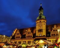 莱比锡圣诞节市场 库存照片