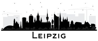 莱比锡德国市与黑楼Iso的地平线剪影 库存例证