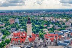 莱比锡,德国鸟瞰图  免版税库存照片