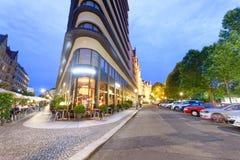 莱比锡,德国- 2016年7月16日:城市街道在晚上 莱比锡 库存照片