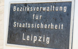 莱比锡,德国- 2016年7月18日:在史塔西Mus的入口标志 库存图片