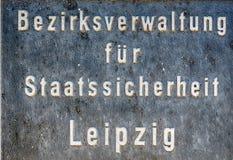 莱比锡,德国- 2016年7月18日:在史塔西Mus的入口标志 免版税库存图片