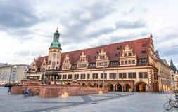 莱比锡,德国- 2016年7月17日:在sunse的城市中世纪街道 免版税库存照片