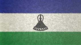 莱索托旗子的原始的纹理3D图象 库存例证