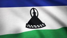 莱索托,慢动作挥动的旗子 标志莱索托 回报使用正式设计和颜色 无缝的圈 皇族释放例证