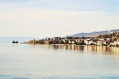 莱芒湖和一部分的城市,瑞士,欧洲 免版税库存图片