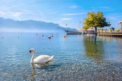 莱芒湖在沃韦 小行政区瑞士vaud 免版税库存图片