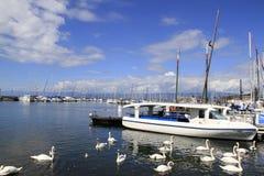 莱芒湖在洛桑,瑞士2016年12月15日 免版税库存图片