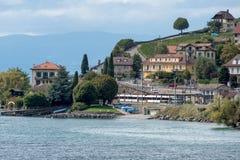 莱芒湖,瑞士欧洲- 9月14日:火车站 免版税库存照片