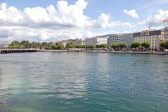 莱芒湖,瑞士都市风景视图  库存照片