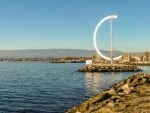 莱芒湖, Ouchy口岸,洛桑,瑞士 免版税库存照片