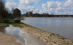 莱茵河和大教堂施派尔的 免版税库存图片