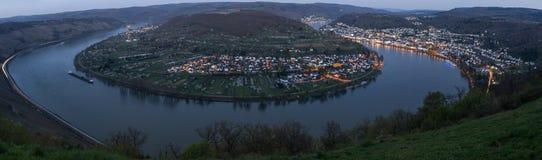 莱茵河在晚上高定义panora的圈boppard德国 库存图片