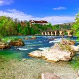 莱茵河在瑞士 免版税库存图片