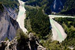 莱茵河峡谷在瑞士阿尔卑斯,瑞士。 图库摄影