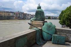 莱茵河江边在巴塞尔 库存图片