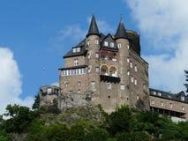 莱茵河的中世纪城堡卡兹城镇卡兹,德国 库存照片