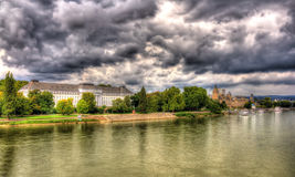 莱茵河的全景在科布伦茨 库存照片