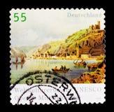 莱茵河谷世界遗产名录2002年,联合国科教文组织世界遗产名录选址serie,大约2006年 免版税库存照片
