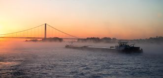 莱茵河闯入与吊桥的有薄雾的日出 免版税库存图片