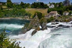 莱茵瀑布看法从Bodensee的在沙夫豪森,瑞士 库存照片