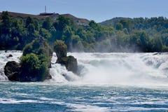 莱茵瀑布看法从Bodensee的在沙夫豪森,瑞士 免版税库存图片