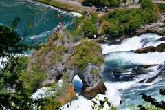 莱茵瀑布看法从Bodensee,瑞士的 库存图片