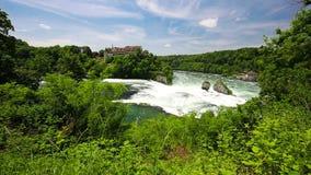 莱茵瀑布Rheinfalls,最大的简单的瀑布在沙夫豪森,瑞士附近的欧洲 影视素材