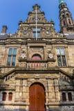 莱顿主要大学大厦的门面  免版税库存照片
