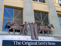 莱维史特劳斯的细节原物莱维斯商店商店 库存照片