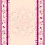 莲花和大象桃红色和奶油色印地安横幅 库存例证
