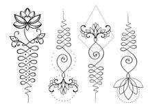 莲花和神圣的几何 智慧和pa的Unamole印度标志 向量例证