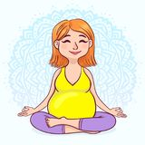 莲花坐的怀孕的红头发人妇女反对坛场背景 逗人喜爱的动画片样式 也corel凹道例证向量 免版税库存图片