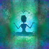 莲花坐的瑜伽女孩 库存图片