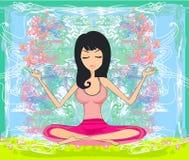 莲花坐的瑜伽女孩 库存照片