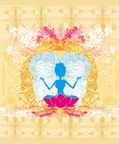 莲花坐的瑜伽女孩 免版税库存照片