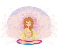 莲花坐的瑜伽女孩 图库摄影
