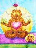 莲花姿势瑜伽、水彩绘画、chakra力量、逗人喜爱的大熊和鼠动画片设计例证 图库摄影