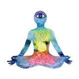莲花姿势瑜伽用mudra手, 3三只眼,绘抽象力量的水彩 免版税库存图片
