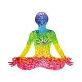 莲花姿势瑜伽用mudra手,水彩绘画,抽象力量 免版税库存图片