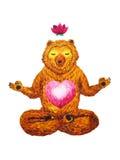 莲花姿势瑜伽,水彩绘画, chakra力量,逗人喜爱的大熊 免版税图库摄影