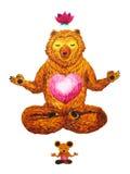莲花姿势瑜伽,水彩绘画, chakra力量,逗人喜爱的大熊 库存图片