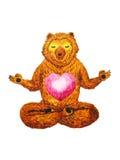莲花姿势瑜伽,水彩绘画, chakra力量,逗人喜爱的大熊 库存照片