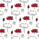 莲花无缝的样式 免版税库存图片