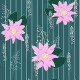 莲花背景 与荷花的花卉样式 皇族释放例证