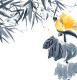 莲花芽和竹子 开花例证 库存照片