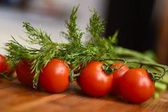 莳萝新鲜的成熟蕃茄和堆  库存图片