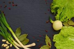 莴苣、圆白菜、大蒜、月桂叶和葱叶子在bl 库存图片